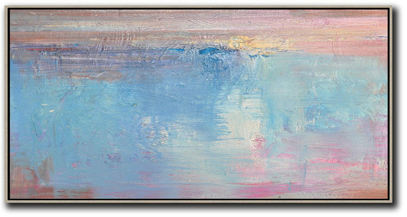 Large Contemporary Art Acrylic Painting,Horizontal Palette Knife Contemporary Art,Hand Paint Large Art Pink,Sky Blue,Purple